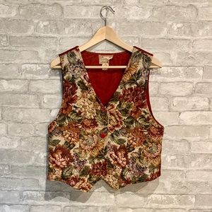 Vintage floral corduroy vest by Cornell Trading